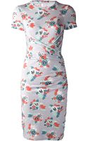 Carven Jersey Floral Fitted Dress - Lyst