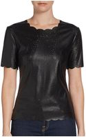 BCBGMAXAZRIA Perforated Faux Leather Top - Lyst