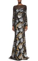Badgley Mischka Collection Long-sleeve Floral Sequin Gown - Lyst