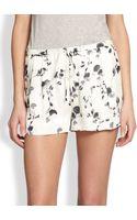 Haute Hippie Printed Silk Drawstring Shorts - Lyst
