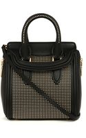 Alexander McQueen Mcq Heroine Mini Goldstud Leather Tote Black - Lyst