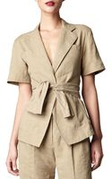 Donna Karan New York Shortsleeve Tiefront Jacket - Lyst
