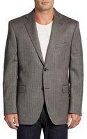 Saks Fifth Avenue Black Wool Slimfit Herringbone Sportcoat - Lyst