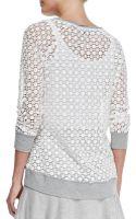 Pam & Gela Knittrim Crochet Lace Sweatshirt - Lyst