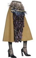 Marni Feather Embellished Wool Felt Skirt - Lyst
