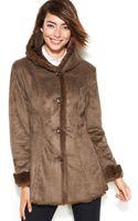 Jones New York Faux-fur-trimmed Single-breasted Hooded Coat - Lyst