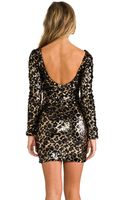 Dress The Population Lola Long Sleeve Sequin Dress in Metallic Gold - Lyst