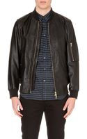 PS by Paul Smith Stand Collar Leather Bomber Jacket - Lyst