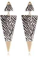 River Island Black Zebra Print Triangle Drop Earrings - Lyst