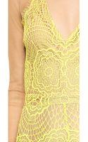 For Love & Lemons Antigua Mini Dress Chartreuse - Lyst