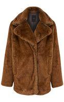 Noё Linea Faux Fur Brown Coat - Lyst