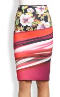 Clover Canyon Botanical Wave Neoprene Pencil Skirt - Lyst