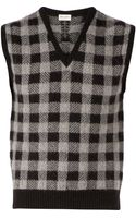 Saint Laurent Checked Tank Top - Lyst