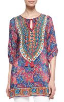 Tolani Madison Silk Ruchedsleeve Tunic - Lyst