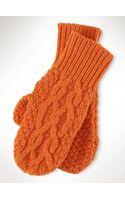 Polo Ralph Lauren Aran-knit Merino-blend Mittens - Lyst