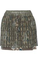 Suno Printed Metallic Chiffon and Silk Mini Skirt - Lyst
