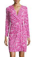 Diane Von Furstenberg Longsleeve Stretchknit Wrap Dress - Lyst