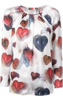 MSGM Heart Printed Blouse - Lyst