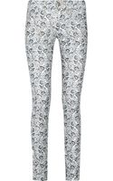 Etoile Isabel Marant Irwin Cropped Low-rise Printed Corduroy Skinny Jeans - Lyst