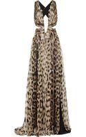 Roberto Cavalli Cutout Leopardprint Silkchiffon Gown - Lyst