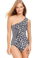 Michael Kors Michael One-shoulder Animal-print One-piece Swimsuit - Lyst