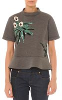 Marni Short-sleeve Embellished Top W Peplum - Lyst