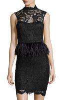 Alice + Olivia Embellished-lace Feather-peplum Dress - Lyst