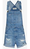Current/Elliott Tattered Destroyed Short Overalls - Lyst