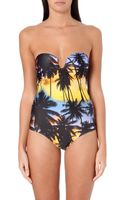 Agua De Coco Sunset-print Bandeau Swimsuit - Lyst