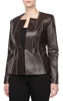 Carolina Herrera Leather Jacket with Contrast Stitching - Lyst