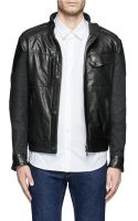 Matchless Brooklands Felt and Leather Biker Jacket - Lyst