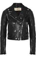 Burberry Brit Cropped Leather Biker Jacket - Lyst