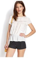 Forever 21 Drop Waist Lace Top - Lyst
