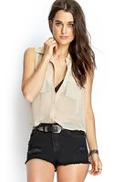 Forever 21 Sheer Moment Woven Top - Lyst