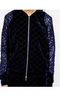 American Retro Velvet Jacket with Contrast Sleeves - Lyst