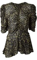 Etoile Isabel Marant Draped Leopard Print Top - Lyst