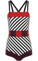 Roksanda Ilincic White Stripe Maeva Swimsuit - Lyst