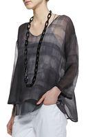Eileen Fisher Printed Silk Chiffon Top - Lyst