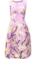 Oscar de la Renta Crewneck Print Dress - Lyst