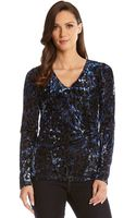 Karen Kane Blue Burnout Wrap Top - Lyst