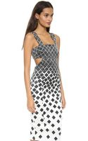 Suno Cutout Dress Dotted Checkers - Lyst