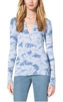 Michael Kors Tie Dye-print Cotton Henley - Lyst