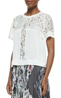 Rebecca Taylor Laceinset Satin Top - Lyst