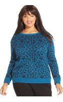 Jessica Simpson Plus Size Leopard-print Sweater - Lyst