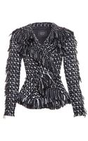 Lanvin Frayed Tweed Jacket - Lyst