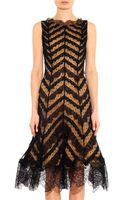 Oscar de la Renta Silk and Lace Sleeveless Dress - Lyst
