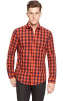Hugo Boss Mason  Slim Fit Cotton Checked Button Down Shirt - Lyst