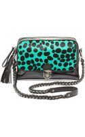 Eric Javits Leopard Ziptop Shoulder Bag Emerald - Lyst
