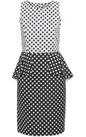 Helene Berman Womens Polka Dot Peplum Dress - Lyst