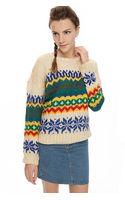 Pixie Market Ivory Chunky Knit Sweater - Lyst